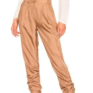 NWT Tibi Mendini Pleated Twill Pant in Sable Brown